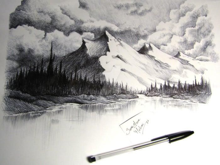 100 Gambar Sketsa Pemandangan Alam Pantai Gunung Desa Air Terjun