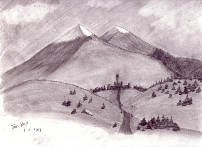 Sketsa Pemandangan Gunung yang Mudah