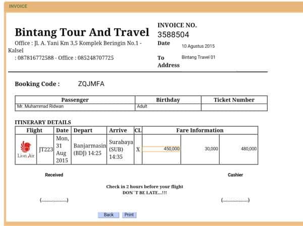 Contoh Invoice Travel & Tours