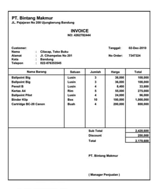 contoh invoice barang sahabatnesia