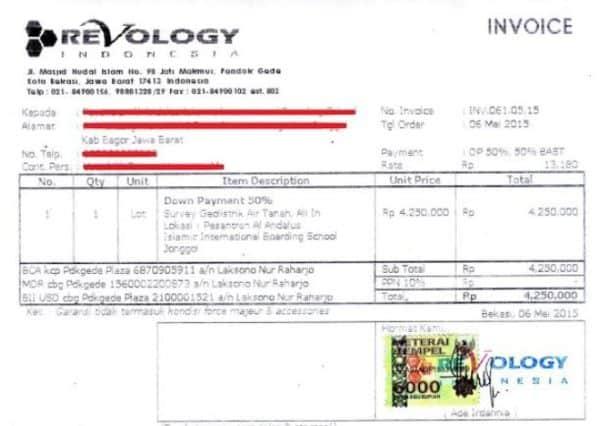 contoh invoice proyek sahabatnesia