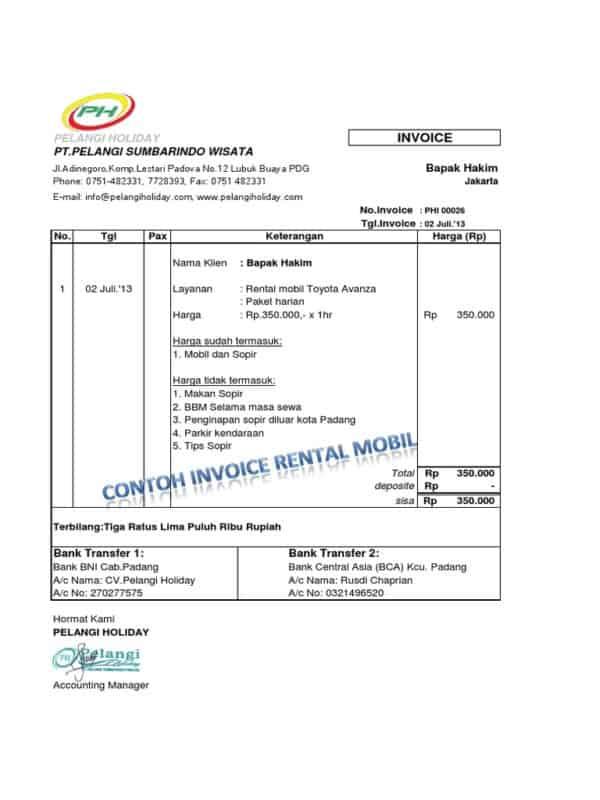 contoh invoice rental mobil