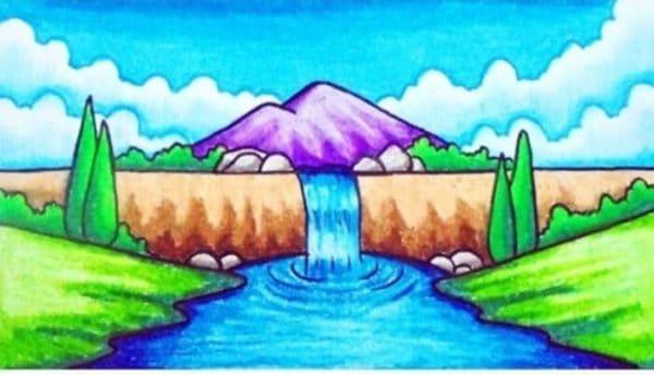 Gambar Gunung dan Air Terjun dengan Keindahan Alam Sekitar