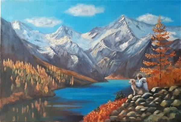 Gambar Pemandangan Danau dan Pegunungan
