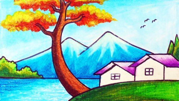 Gambar Pemandangan Danau di Tepi Desa