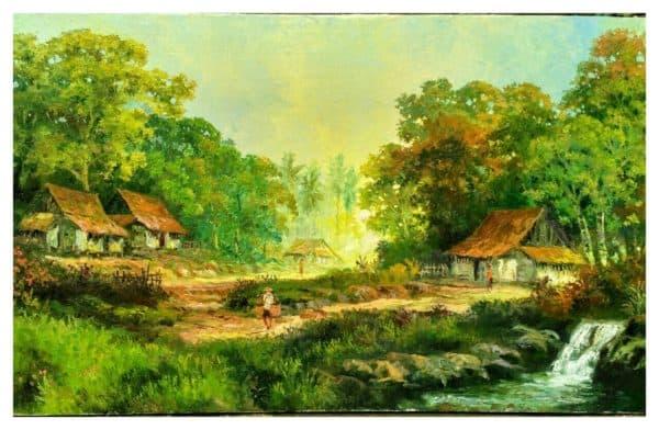 Gambar Pemandangan Desa di Pinggir Sungai