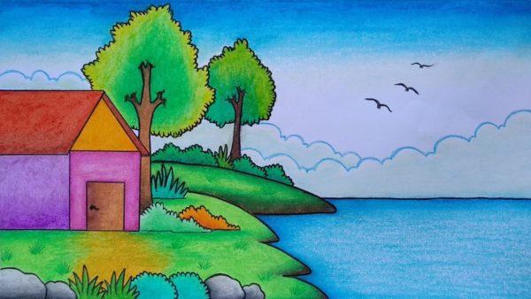 Gambar Pemandangan Rumah di Pinggir Danau