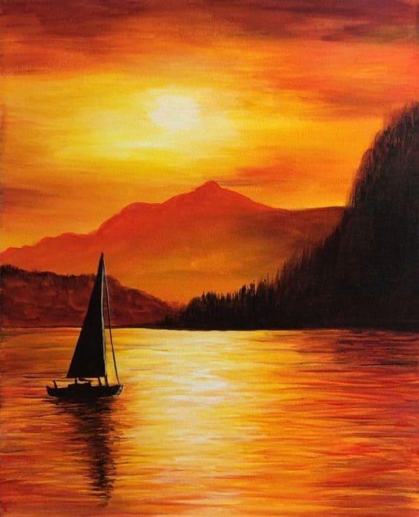 gambar pemandangan Gunung dan Danau dengan Sunset di Sore Hari