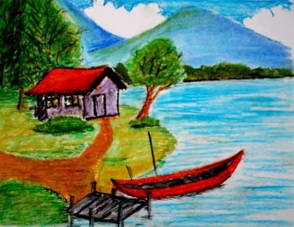 Pemandangan Gunung, Danau, dan Rumah Penduduk di Bukit