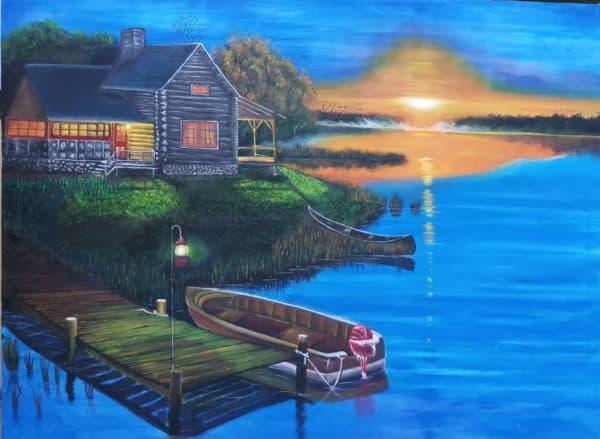 gambar pemandangan Rumah di Atas Danau