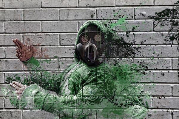 grafiti masker gas