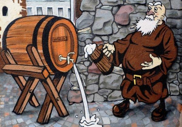 grafiti orang tua dan bir